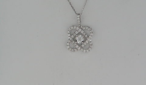 .10ct diamond pendant in 14kt white gold with 44 diamonds -.40ct on an 18in chain Style PD10483-4WC $1800.00