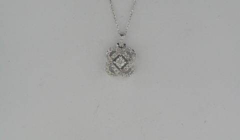 .10ct diamond pendant in 14kt white gold with 35 diamonds =.15ct on an 18in chain Style PD10454-4WF $600.00