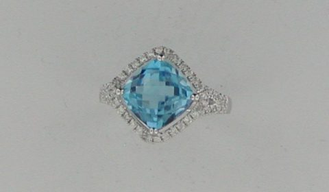 3.89ct blue topaz ring in 14kt white gold with 62 diamonds =.31ct Style Y371161RWTP $1740.00