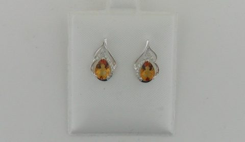 1.20ct citrine earrings in 14kt white gold with 26 diamonds =.11ct Style Y450041EWCI $630.00