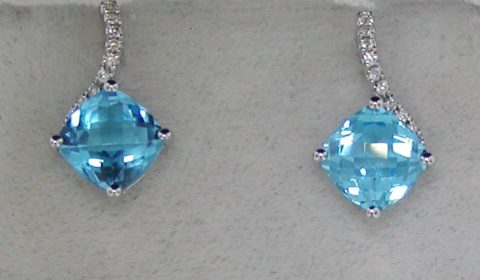 3.16ct blue topaz 7mm checkerboard cut earrings in 14kt white gold with 18 diamonds =.09ct Style Y371618WTP $800.00