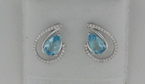 1.68ct blue topaz 6X9 pear shaped earrings in 14kt white gold with 56 diamonds =.21ct Style Y450104WTP $1300.00