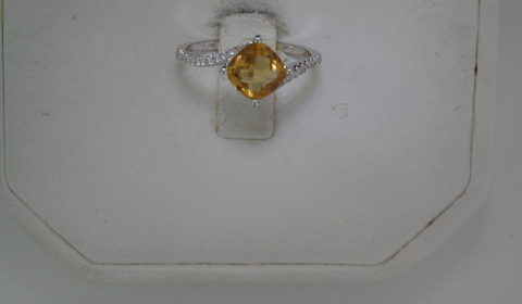 1.30ct citrine checkerboard cut ladies ring in 14kt white gold with 22 diamonds =.11ct Style Y371618RWCI $800.00