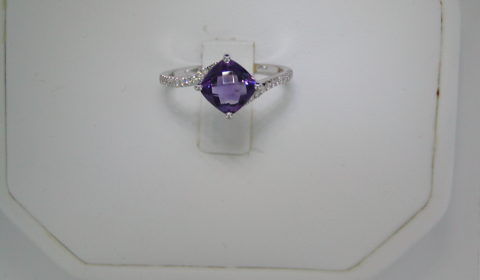 .90ct amethyst checkerboard cut ring in 14kt white gold with 22 diamonds =.11ct Style Y371618RWAM $855.00