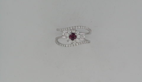.26ct ruby ladies fashion ring in 18kt white gold with 55 diamonds =.64ct  Style R127037WD940 $3000.00