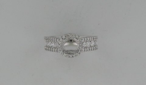 Semi mount ladies ring in 14kt white gold with 60 diamonds =1.20ct Style RI5929W-53N901 $3400.00