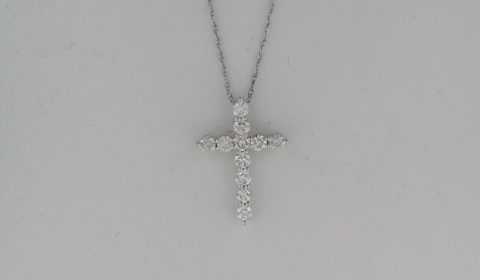 Cross pendant in 14kt white gold with 11 diamonds =1.00ct on an 18in chain Style P6883W51N901 $2050.00