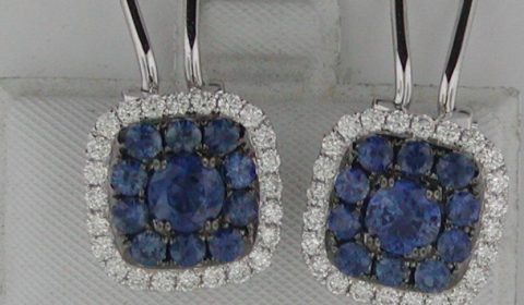 Sapphire earrings in 18kt white gold with 48 diamonds =.86ct, 2 sapphires =1.26ct, 20 sapphires =1.46ct Style E44027N921 $5250.00