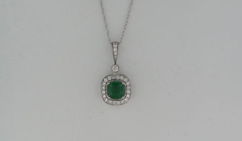 .83ct Emerald pendant in 14kt white gold with 24 diamonds =.35ct on an 18in chain Style P6836WEN901 $3000.00