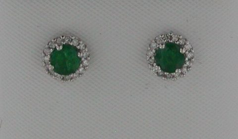 .50ct Emerald earrings in 14kt white gold with 32 diamonds =.14ct Style E2131WEN901 $1300.00