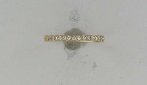 Wedding band in 18kt yellow gold with 13 diamonds =.21ct Style RB43555CDO921 $870.00