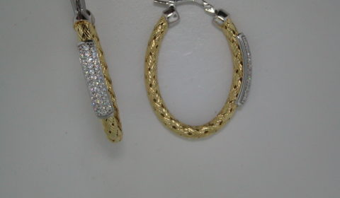 35mm oval woven Nardini loop earrings with CZ in sterling silver and 18kt yellow gold Style MLE8163YWZ35 $175.00