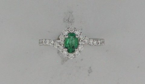 .39ct emerald ring in 18kt white gold with 24 diamonds .56ct Style R156525WO940 $3210.00