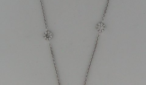 Diamond cluster station necklace in 18kt white gold  with 85 diamonds =.77ct Style N44434BW1021 $2985.00