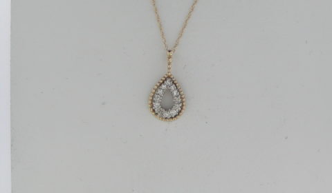 Diamond pendant in 14kt two tone gold with 12 diamonds =.20ct on an 18in chain Style 750-0690 $685.00