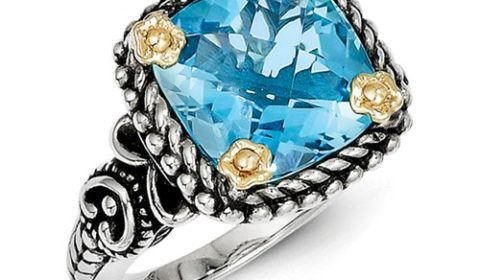 4.50ct blue topaz ring in sterling silver and 18kt yellow gold size 7 Style QTC203 $375.00