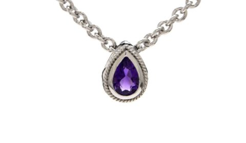 Amethyst pendant in sterling silver and 18kt yellow gold.  Style ACP310-A.  $200.00