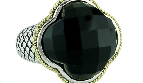 Onyx ladies ring in sterling silver and 18kt yellow gold.  Style ACR113-ON.  $400.00