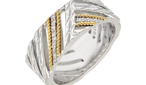 Diamond ladies ring in sterling silver and 18kt yellow gold with 13 diamonds =.06ct.  Style ACR339/06.  $350.00