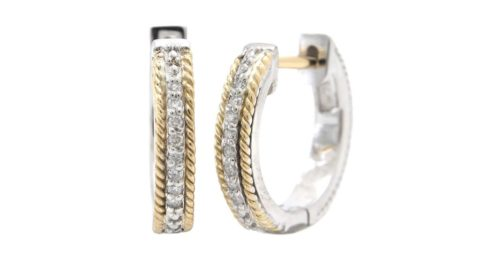Hoop earrings in sterling silver and 18kt yellow gold with 16 diamonds =.08ct.  Style ACE375/08.  $375.00