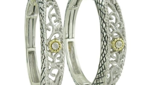 Loop earrings in sterling silver and 18kt yellow gold with 2 diamonds =.01ct.  Style ACE115/01.  $350.00