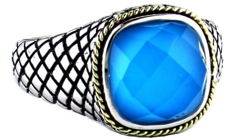 Turquoise doublet ring in sterling silver and 18kt yellow gold.  Style ACR211-TQ.  $225.00