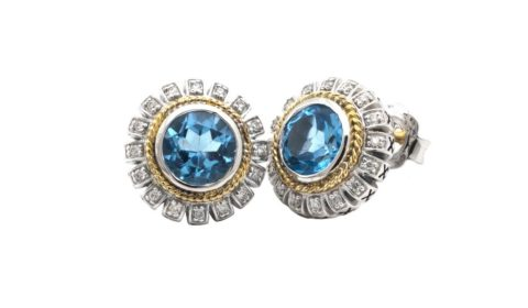 Blue topaz earrings in sterling silver and 18kt yellow gold with 32 diamonds =.16ct.  Style ACE359/16-BT.  $650.00