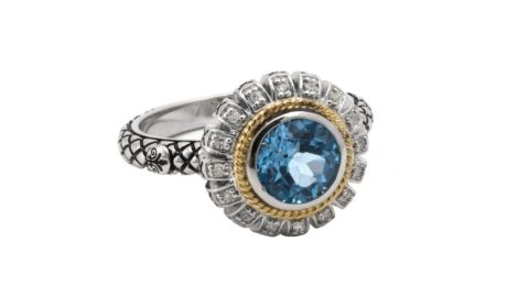 Blue topaz ring in sterling silver and 18kt yellow gold with 16 diamonds =.08ct.  Style ACR271/08-BT.  $400.00