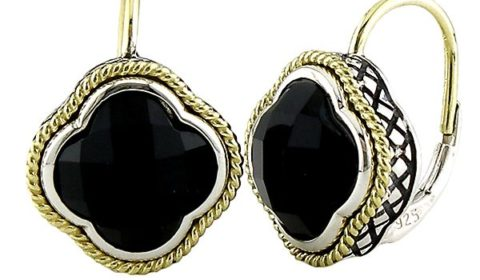 Onyx earrings in sterling silver and 18kt yellow gold.  Style ACE126-ON.  $400.00
