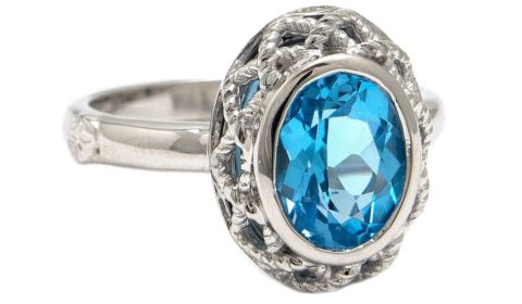 Blue topaz ring in sterling silver.  Style ACR307-BT.  $150.00