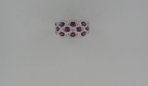 Ladies ruby ring in 18kt white gold =1.37ct with 126 diamonds =.44ct.  Style R70836WR7040.  $4000.00