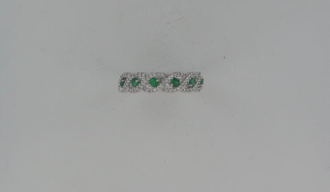 Ladies emerald ring in 14kt white gold =.30ct with 76 diamonds =.25ct.  Style R5903WE6001.  $1650.00