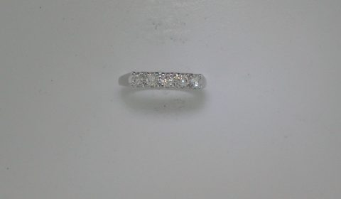 *REORDER AVAILABLE* Wedding ring in 14kt white gold with 5 diamonds =.43ct.  Style 10699.  $1100.00
