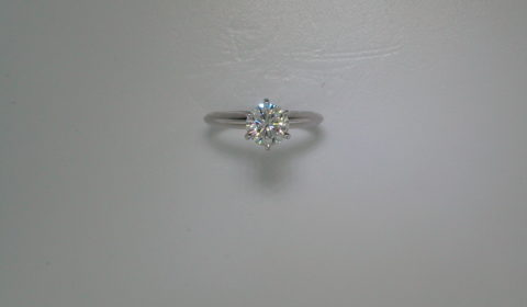 Moissanite 6.5mm solitaire engagement ring in 14kt white gold.  Style 140309L.  $1200.00