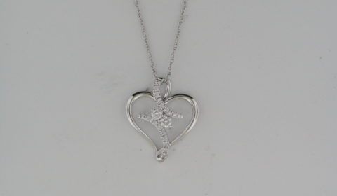 *REORDER AVAILABLE* Heart pendant in 14kt white gold with 15 diamonds =.26ct.  Style OP16A41.  $1210.00