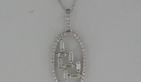 *REORDER AVAILABLE* Diamond pendant in 18kt white gold with 8 baguettes =.37ct and 48 round diamonds =.26ct.  Style PO186524W5140.  $2375.00